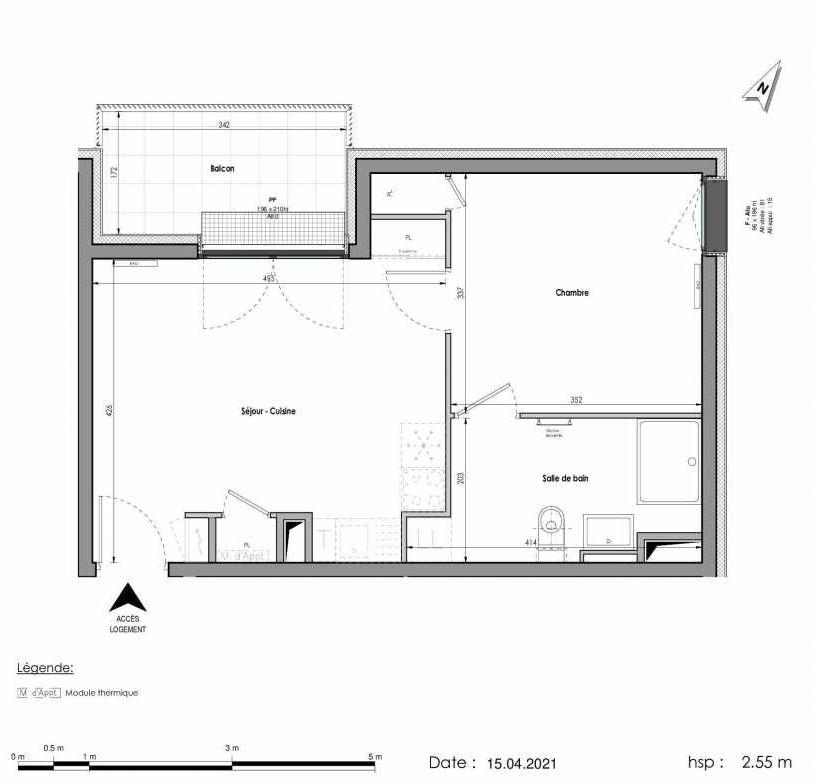 Plan A462, appartement neuf type T2 au 6ème étage, orienté Nord faisant 40m² du programme neuf LES FABRIKS DE MAI à Clermont-Ferrand.