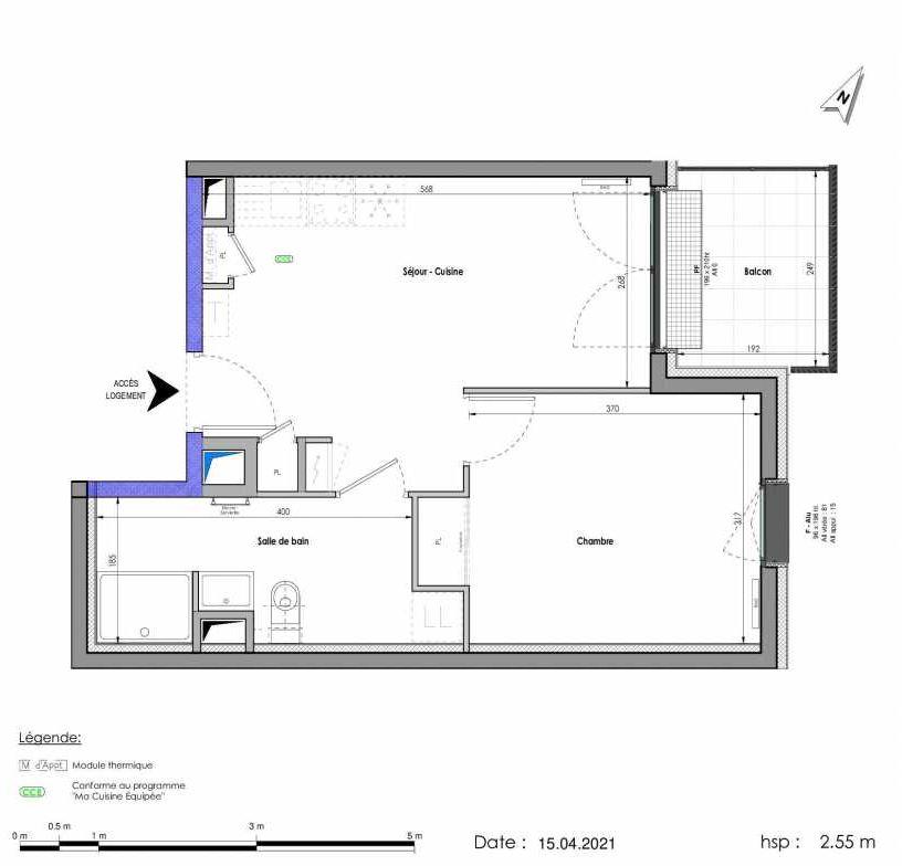 Plan A464, appartement neuf type T2 au 6ème étage, orienté Est faisant 38m² du programme neuf LES FABRIKS DE MAI à Clermont-Ferrand.