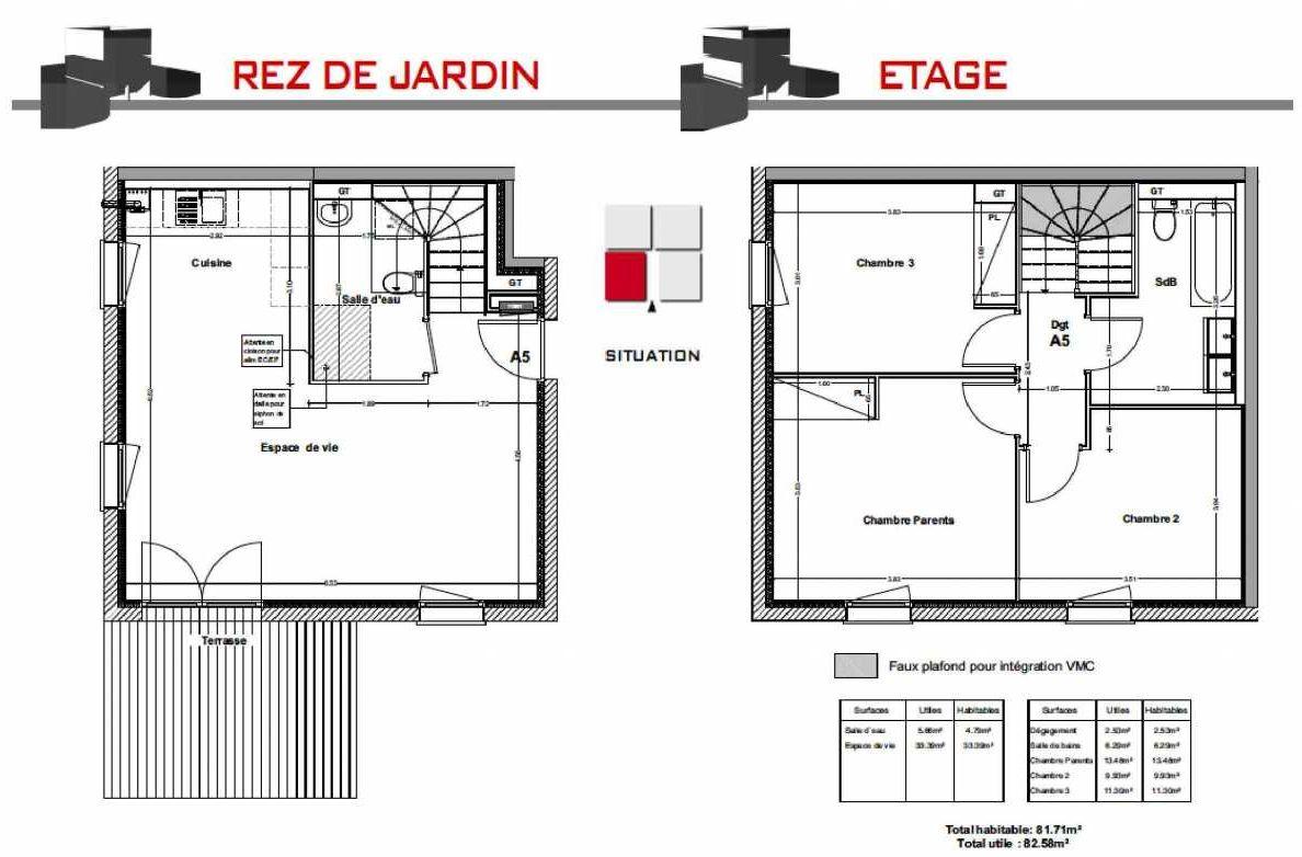 Plan A5, appartement neuf type T4 au Rez de jardin, orienté Sud faisant 81m² du programme neuf LES CARRÉS BEL'AIR à Villeneuve-Tolosane.