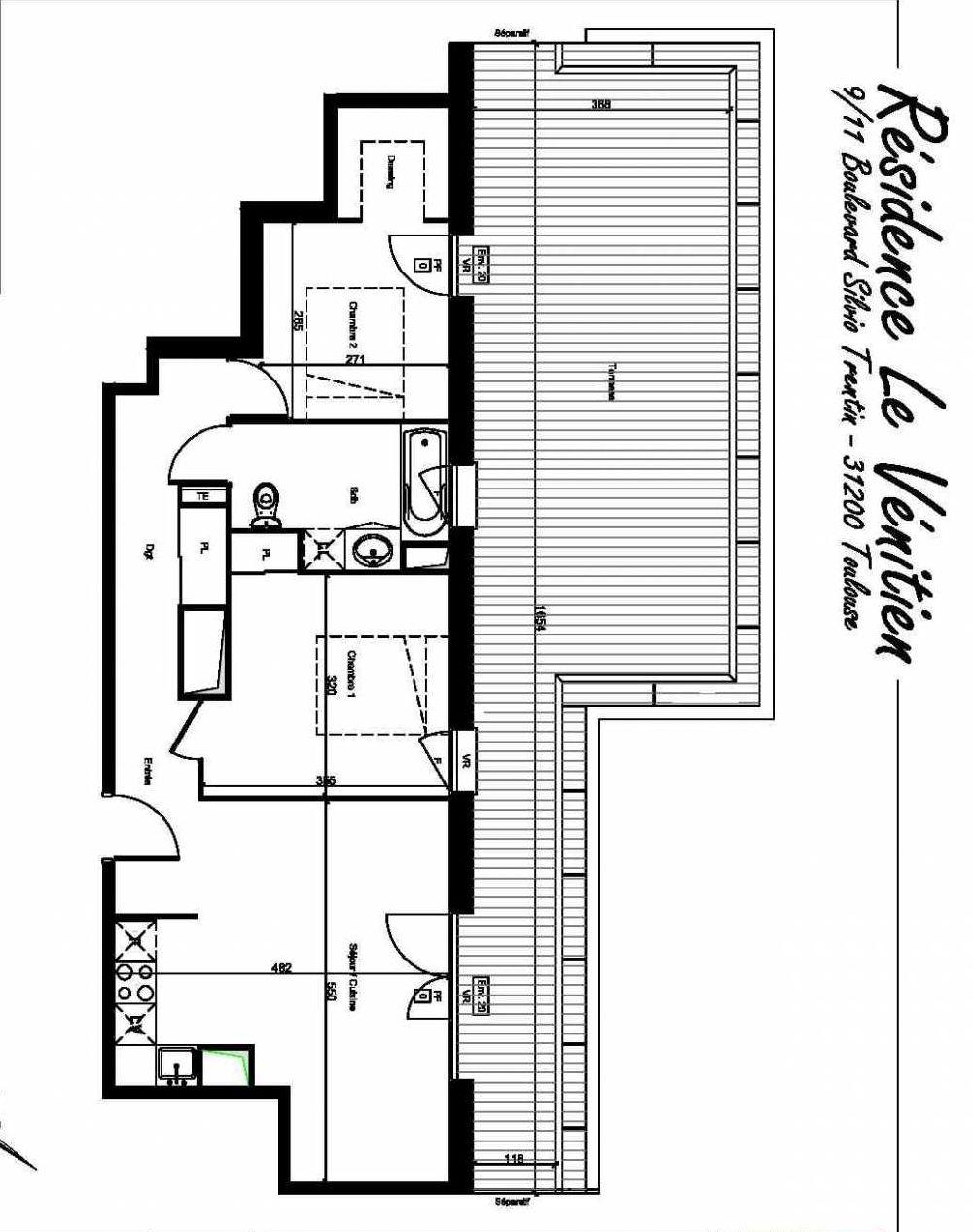 Plan A501, appartement neuf type T3 au 5ème étage, orienté Nord faisant 59m² du programme neuf Le Venitien à Toulouse.