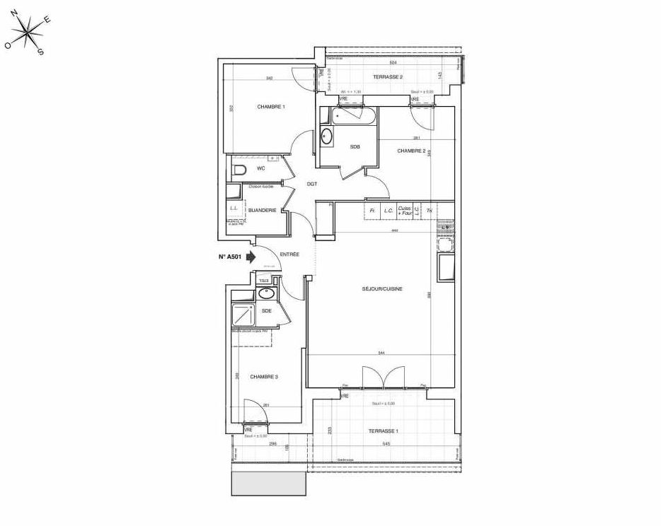Plan A501, appartement neuf type T4 au 5ème étage, faisant 89m² du programme neuf NOVA à Annemasse.