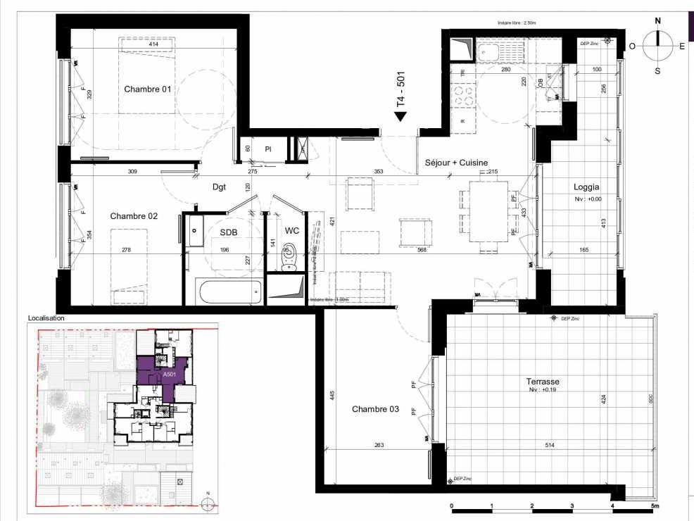 Plan A501, appartement neuf type T3 au 5ème étage, orienté Est faisant 75m² du programme neuf SESAME à Rennes.