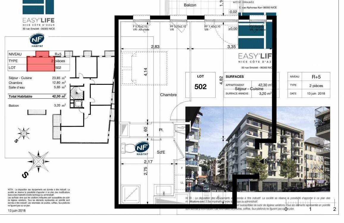 Plan A502, appartement neuf type T2 au 5ème étage, orienté Ouest faisant 42m² du programme neuf Easy Life à Nice.