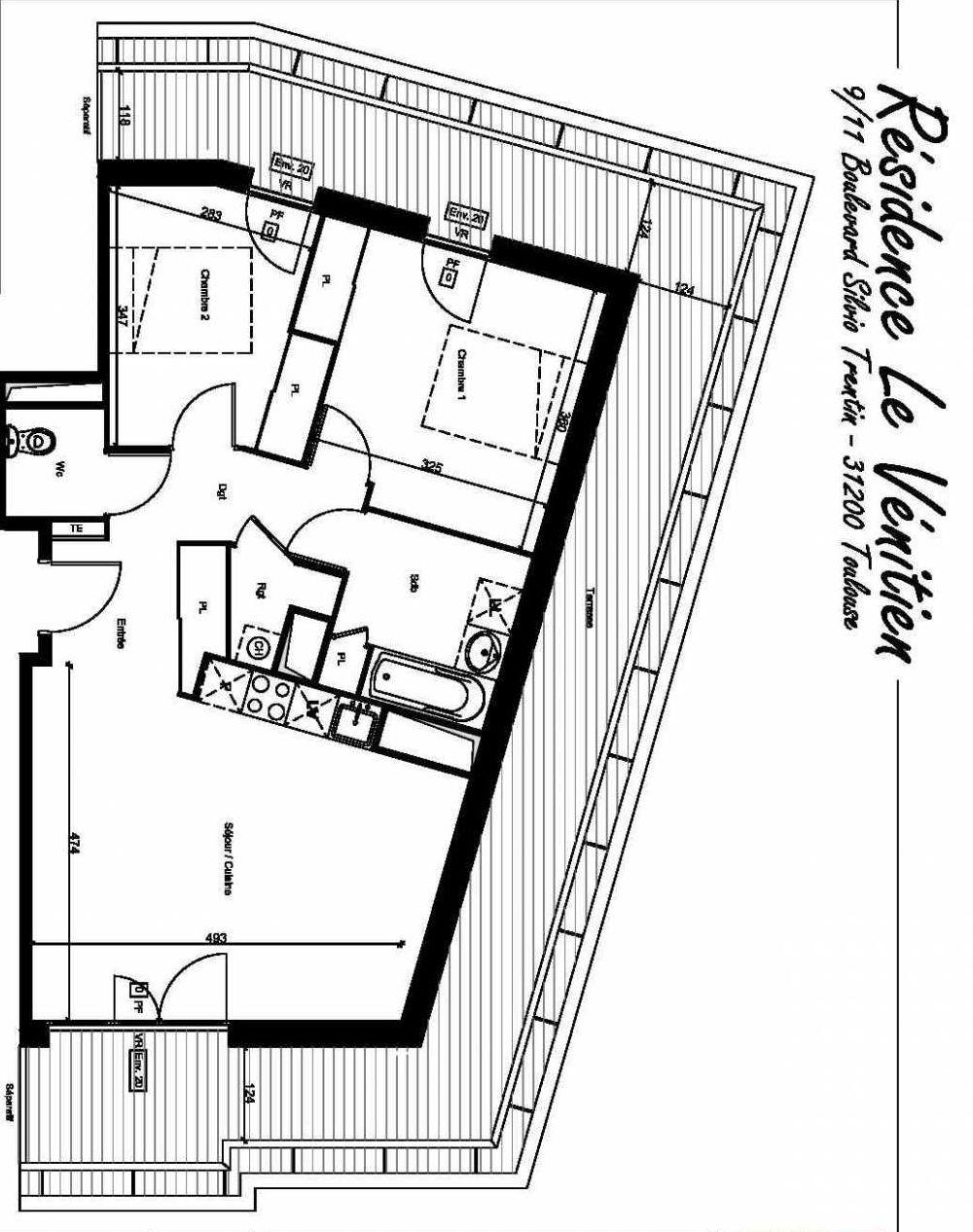 Plan A502, appartement neuf type T3 au 5ème étage, orienté Sud faisant 62m² du programme neuf Le Venitien à Toulouse.