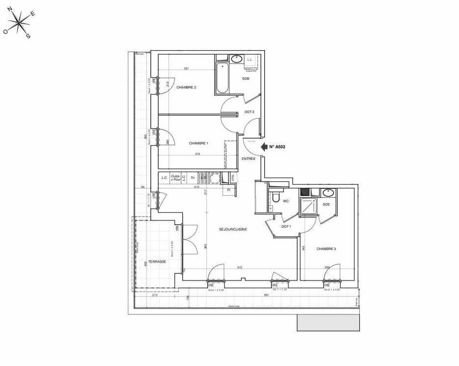 Plan A502, appartement neuf type T4 au 5ème étage, faisant 82m² du programme neuf NOVA à Annemasse.