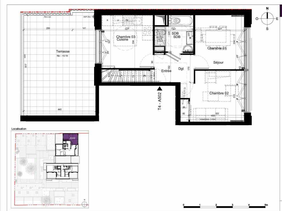 Plan A502, appartement neuf type T4 au 5ème étage, orienté Ouest faisant 84m² du programme neuf SESAME à Rennes.