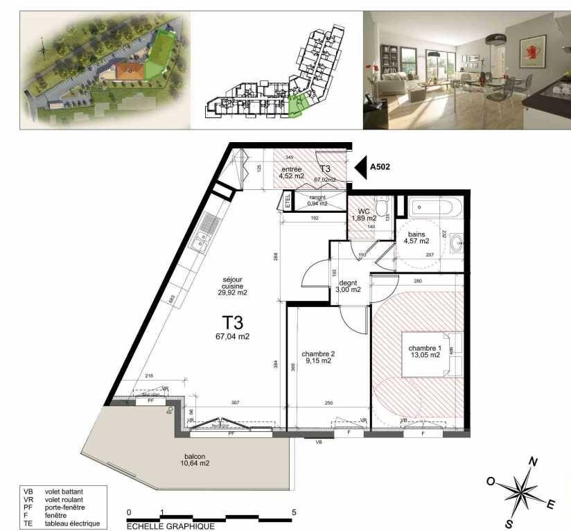 Plan A502, appartement neuf type T3 au 5ème étage, orienté Sud faisant 66m² du programme neuf TOULON ESTEREL à Toulon.