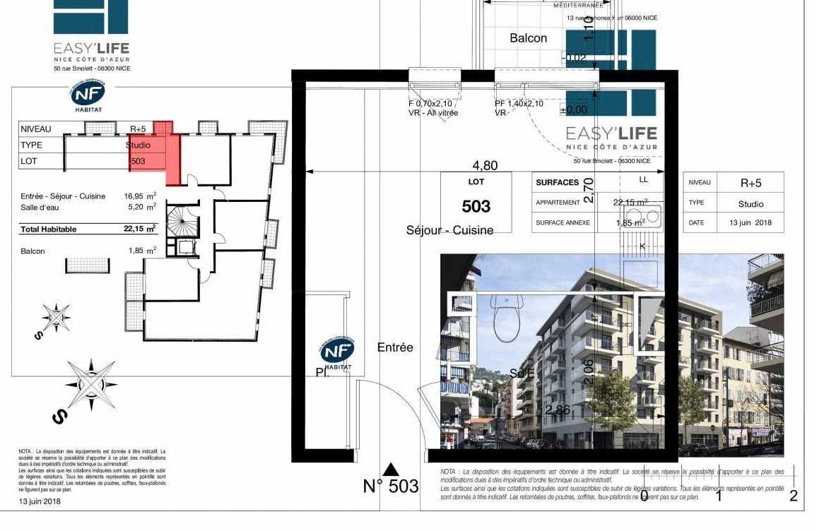 Plan A503, appartement neuf type T1 au 5ème étage, orienté Ouest faisant 22m² du programme neuf Easy Life à Nice.