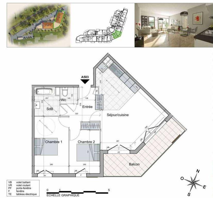 Plan A503, appartement neuf type T3 au 5ème étage, orienté Sud faisant 62m² du programme neuf TOULON ESTEREL à Toulon.