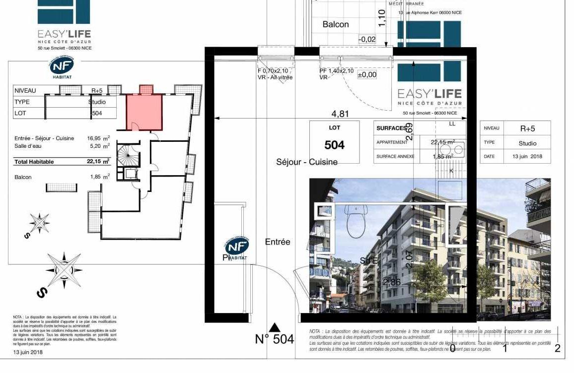 Plan A504, appartement neuf type T1 au 5ème étage, orienté Ouest faisant 22m² du programme neuf Easy Life à Nice.