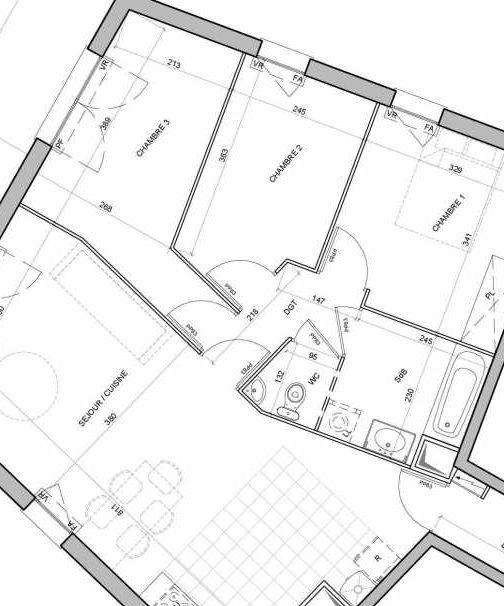 Plan recadré du lot neuf du programme neuf La Fabrique