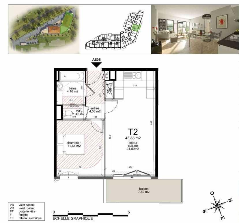 Plan A505, appartement neuf type T2 au 5ème étage, orienté Sud faisant 43m² du programme neuf TOULON ESTEREL à Toulon.