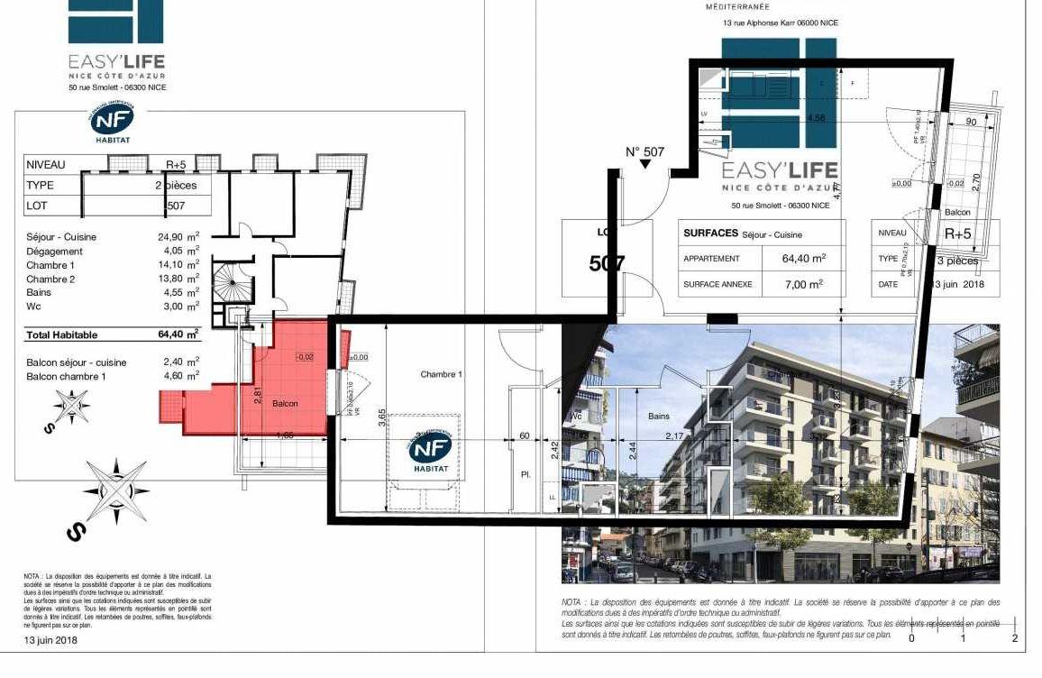 Plan A507, appartement neuf type T3 au 5ème étage, orienté Sud faisant 64m² du programme neuf Easy Life à Nice.