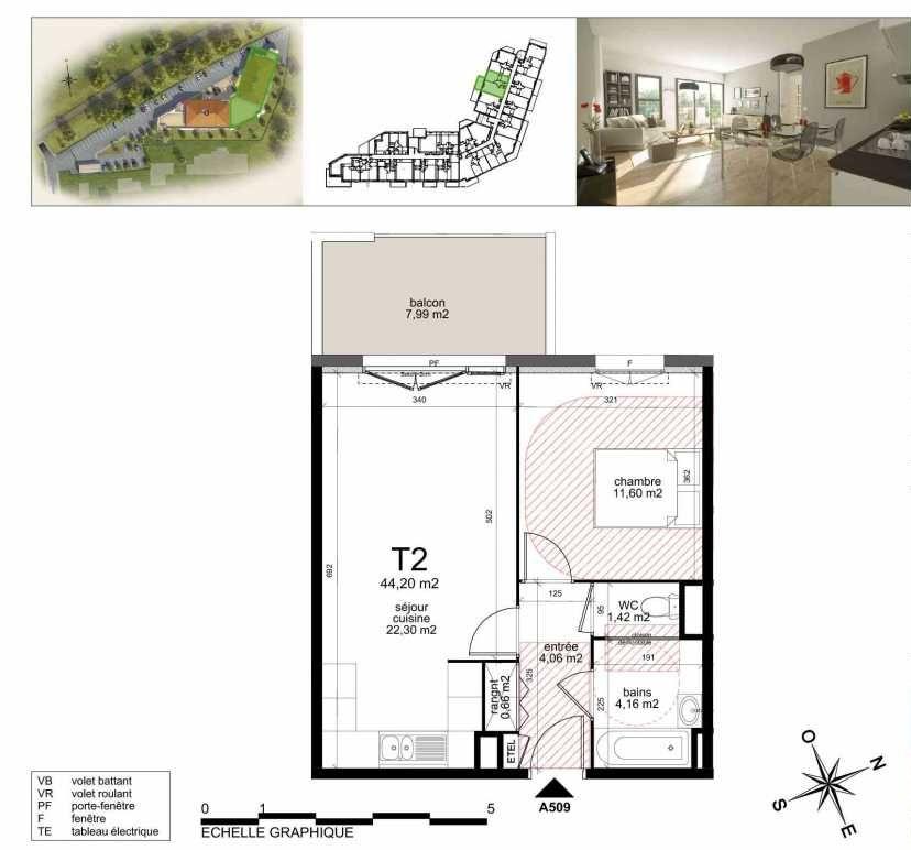 Plan A509, appartement neuf type T2 au 5ème étage, orienté Nord faisant 43m² du programme neuf TOULON ESTEREL à Toulon.