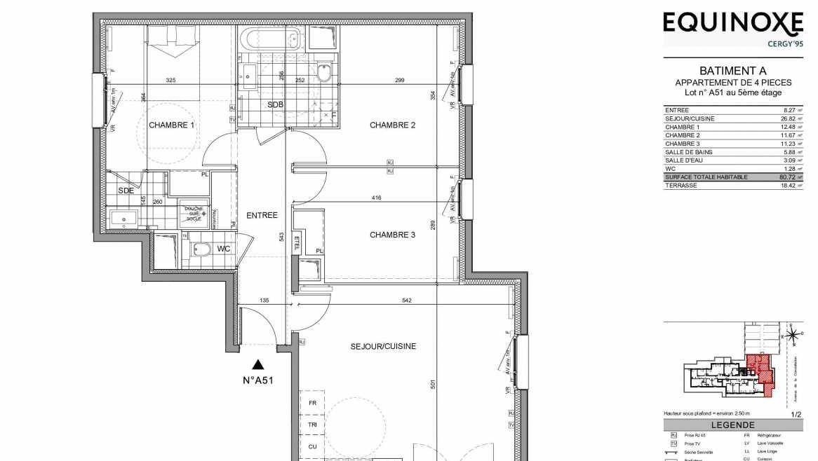 Plan A51, appartement neuf type T4 au 5ème étage, orienté Ouest faisant 82m² du programme neuf Equinoxe à Cergy.