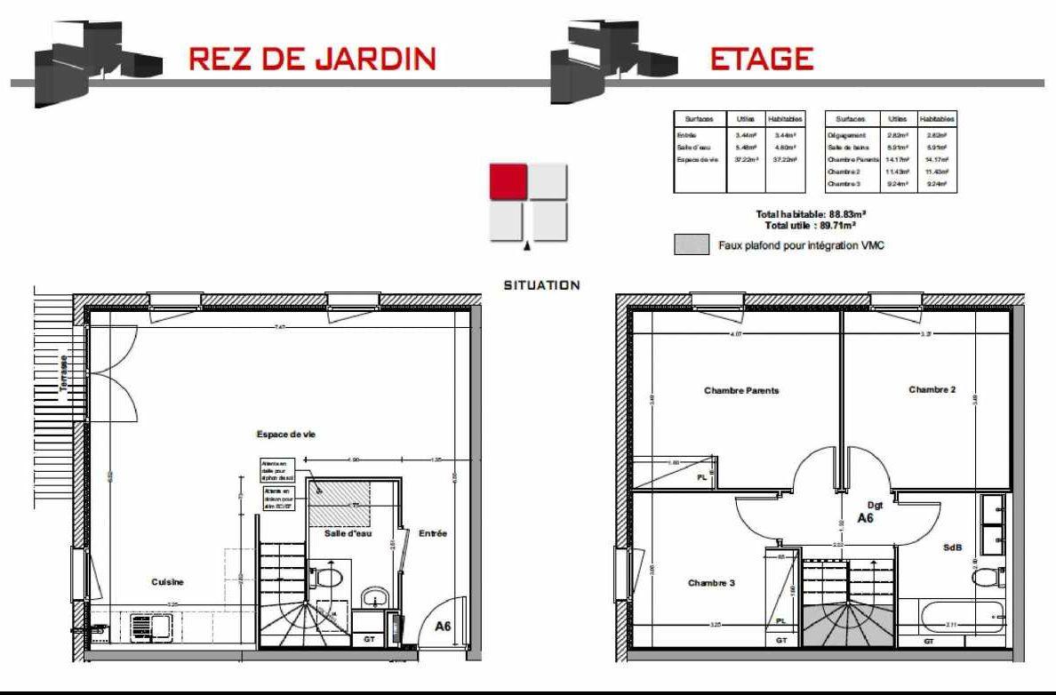 Plan A6, appartement neuf type T4 au Rez de jardin, orienté Est faisant 88m² du programme neuf LES CARRÉS BEL'AIR à Villeneuve-Tolosane.