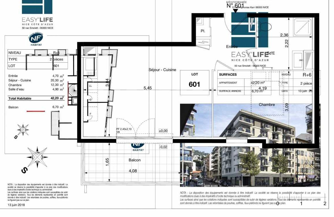 Plan A601, appartement neuf type T2 au 6ème étage, orienté Sud faisant 42m² du programme neuf Easy Life à Nice.