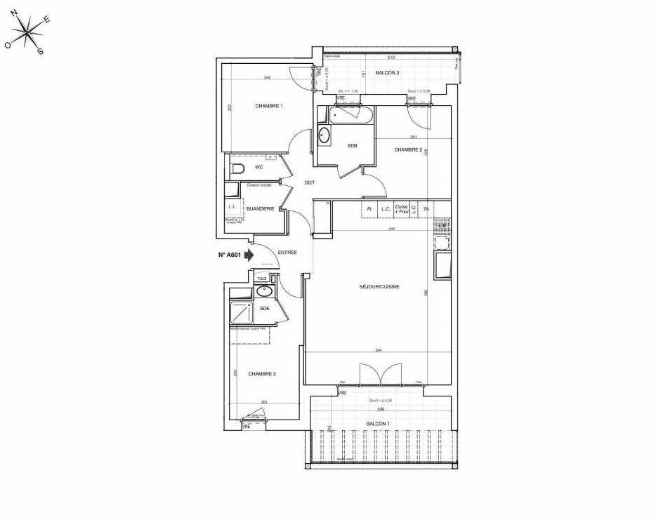 Plan A601, appartement neuf type T4 au 6ème étage, faisant 89m² du programme neuf NOVA à Annemasse.