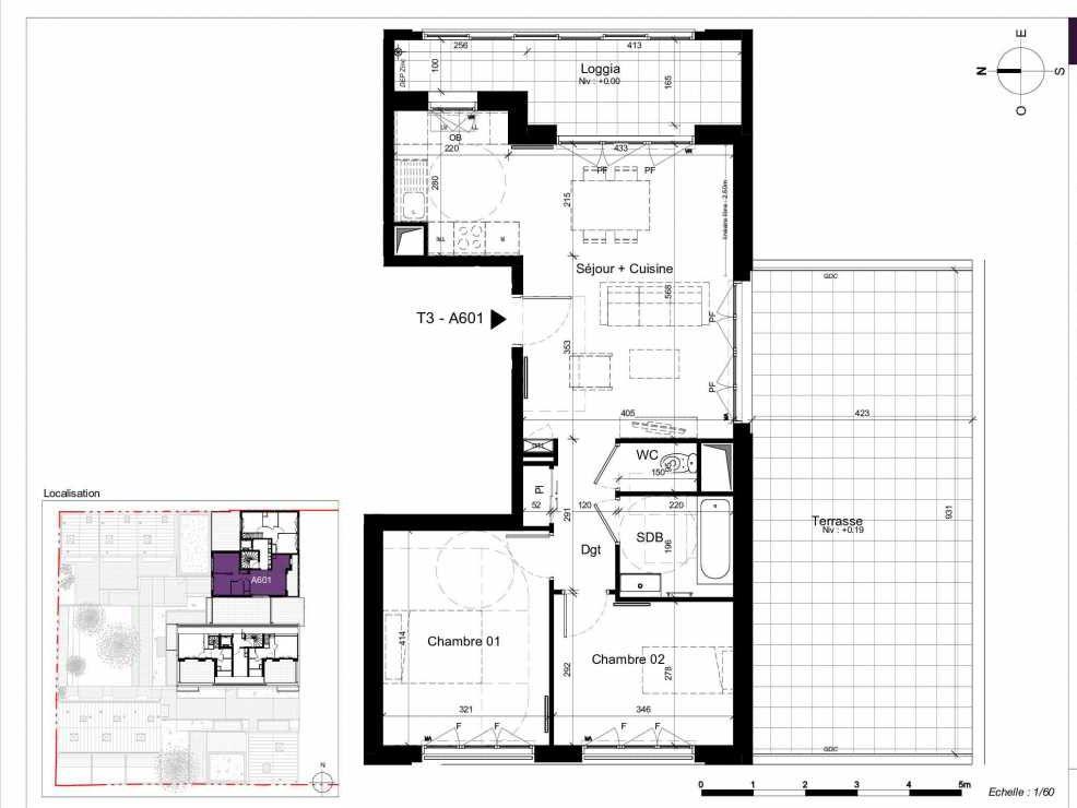 Plan A601, appartement neuf type T3 au 6ème étage, orienté Ouest faisant 62m² du programme neuf SESAME à Rennes.