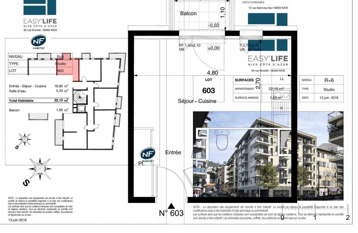 Plan A603, appartement neuf type T1 au 6ème étage, orienté Ouest faisant 22m² du programme neuf Easy Life à Nice.