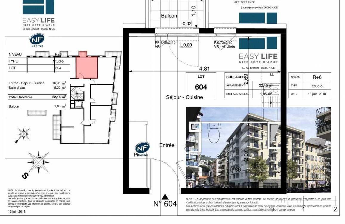 Plan A604, appartement neuf type T1 au 6ème étage, orienté Ouest faisant 22m² du programme neuf Easy Life à Nice.