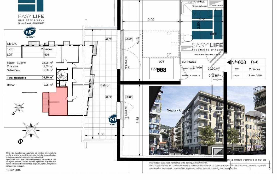 Plan A608, appartement neuf type T2 au 6ème étage, orienté Sud faisant 39m² du programme neuf Easy Life à Nice.