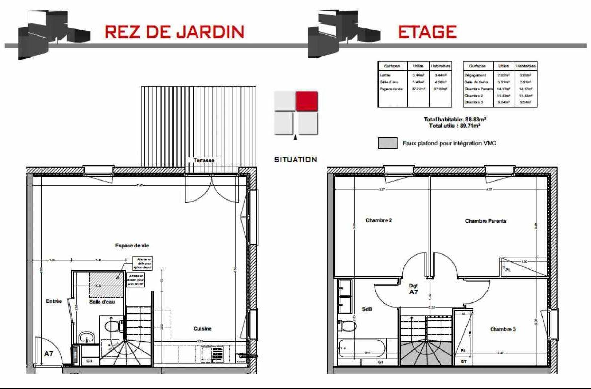 Plan A7, appartement neuf type T4 au Rez de jardin, orienté Nord faisant 88m² du programme neuf LES CARRÉS BEL'AIR à Villeneuve-Tolosane.