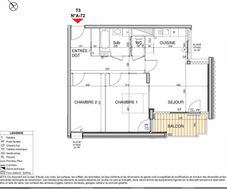 Plan A72, appartement neuf type T3 au 7ème étage, orienté Sud faisant 63m² du programme neuf Open Sky à Grenoble.