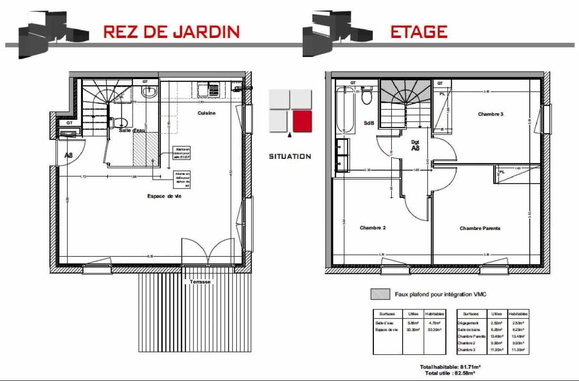 Plan A8, appartement neuf type T4 au Rez de jardin, orienté Sud faisant 81m² du programme neuf LES CARRÉS BEL'AIR à Villeneuve-Tolosane.