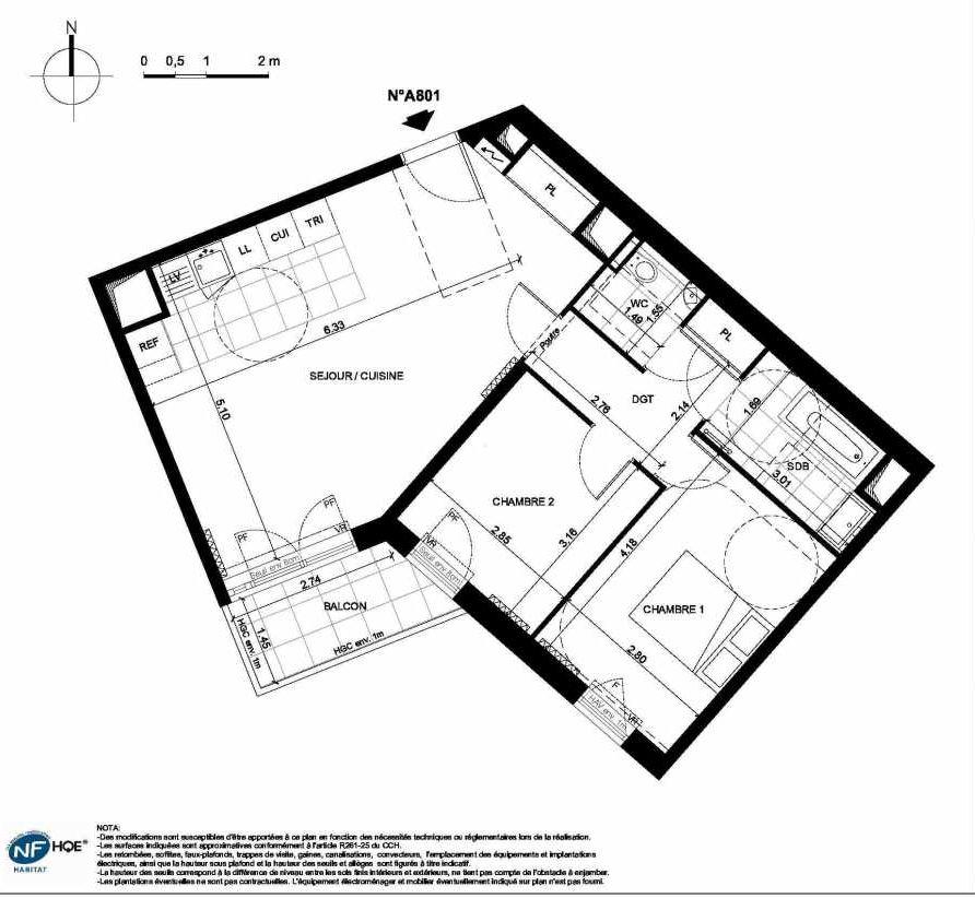 Plan A801, appartement neuf type T3 au 8ème étage, faisant 64m² du programme neuf PRYSM à Clichy.