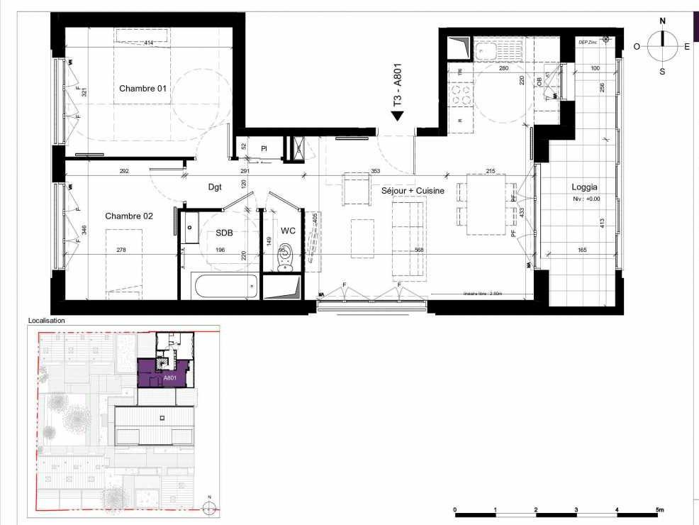 Plan A801, appartement neuf type T3 au 8ème étage, orienté Ouest faisant 62m² du programme neuf SESAME à Rennes.