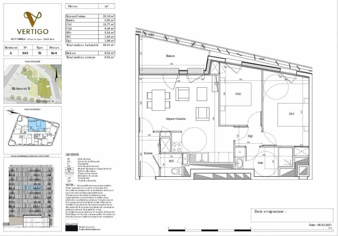 Plan A803, appartement neuf type T3 au 8ème étage, orienté Ouest faisant 58m² du programme neuf Vertigo à Brest.