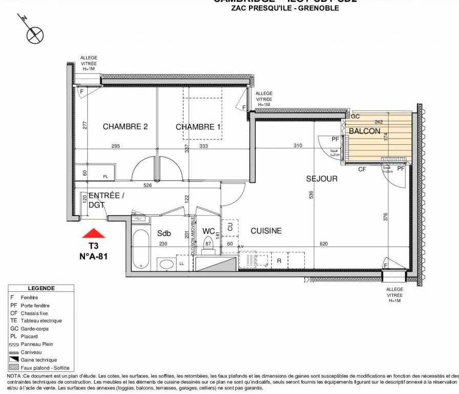 Plan A81, appartement neuf type T3 au 8ème étage, orienté Est faisant 64m² du programme neuf Open Sky à Grenoble.