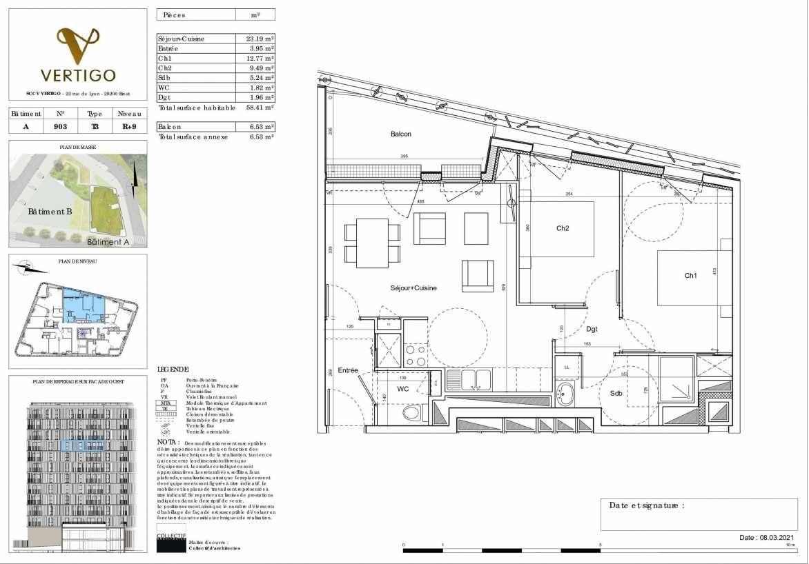 Plan A903, appartement neuf type T3 au 9ème étage, orienté Ouest faisant 58m² du programme neuf Vertigo à Brest.