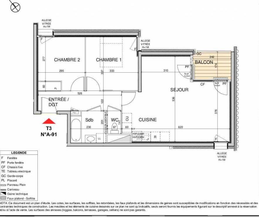 Plan A91, appartement neuf type T3 au 9ème étage, orienté Sud faisant 64m² du programme neuf Open Sky à Grenoble.