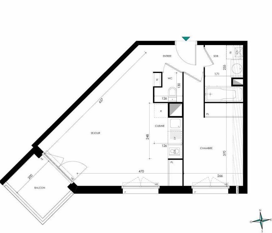 Plan AC103, appartement neuf type T2 au 1er étage, orienté Sud faisant 45m² du programme neuf Domaine des Figuiers à Castelmaurou.