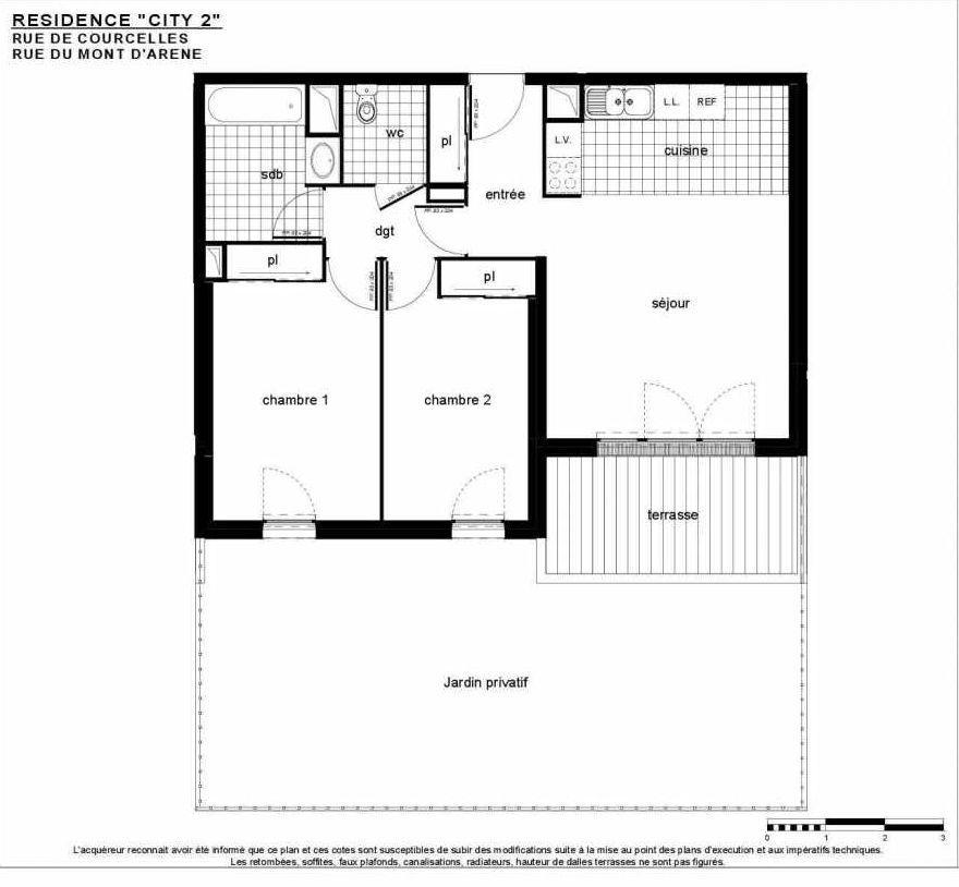 Plan B 003, appartement neuf type T3 au Rez de jardin, faisant 67m² du programme neuf City 2 à Reims.