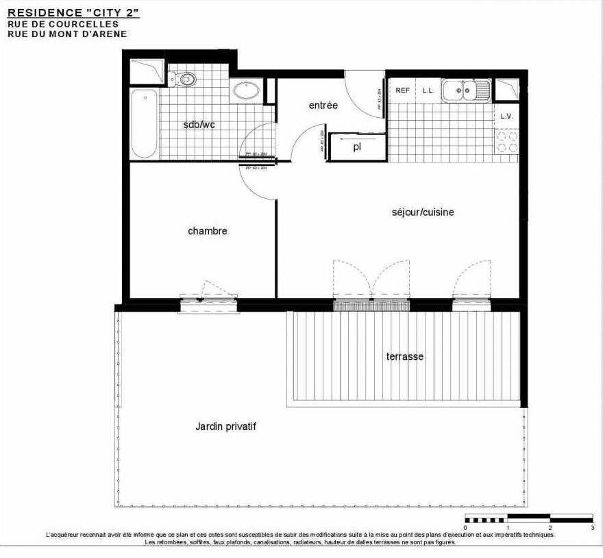 Plan B 005, appartement neuf type T2 au Rez de jardin, faisant 47m² du programme neuf City 2 à Reims.