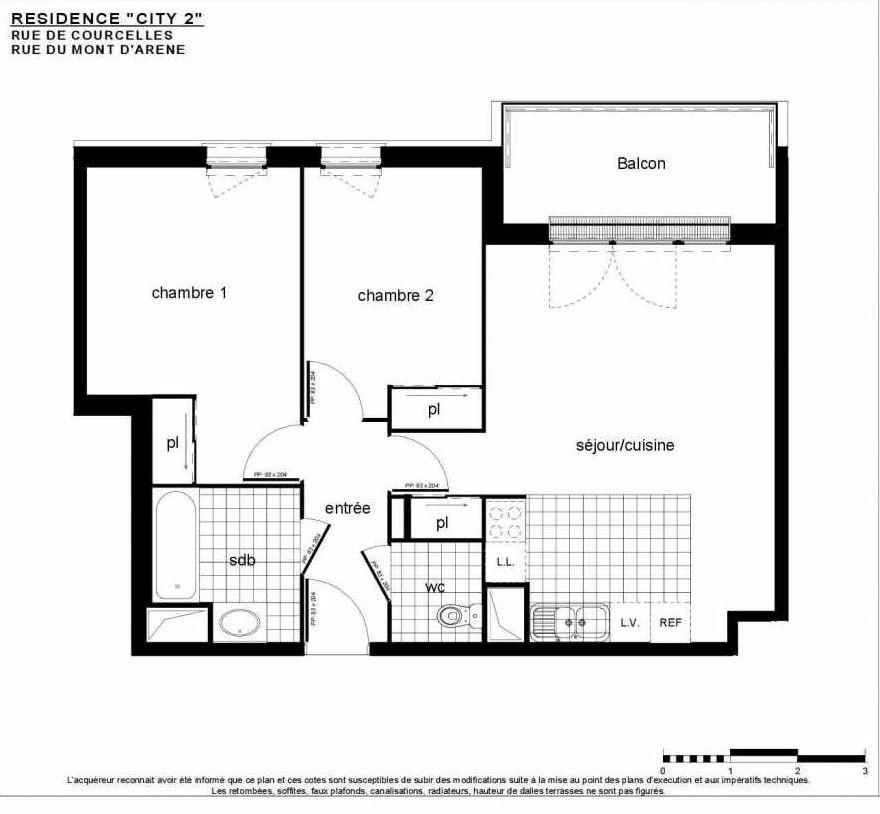 Plan B 201, appartement neuf, faisant 61m² du programme neuf City 2 à Reims.