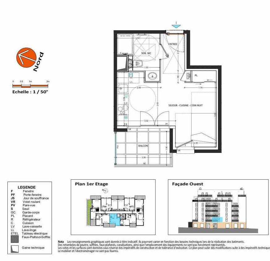 Plan B.111, appartement neuf, orienté Ouest faisant 27m² du programme neuf Grand Angle à Annecy.