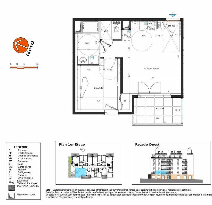 Plan B.112, appartement neuf type T2 au 1er étage, orienté Ouest faisant 41m² du programme neuf Grand Angle à Annecy.