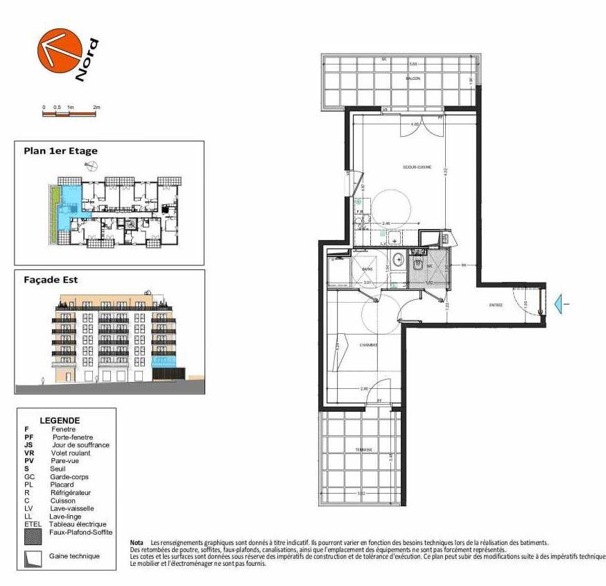 Plan B.113, appartement neuf type T2 au 1er étage, orienté Est faisant 49m² du programme neuf Grand Angle à Annecy.