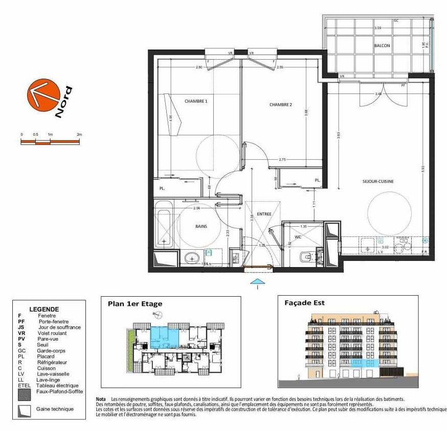 Plan B.114, appartement neuf type T3 au 1er étage, orienté Est faisant 58m² du programme neuf Grand Angle à Annecy.