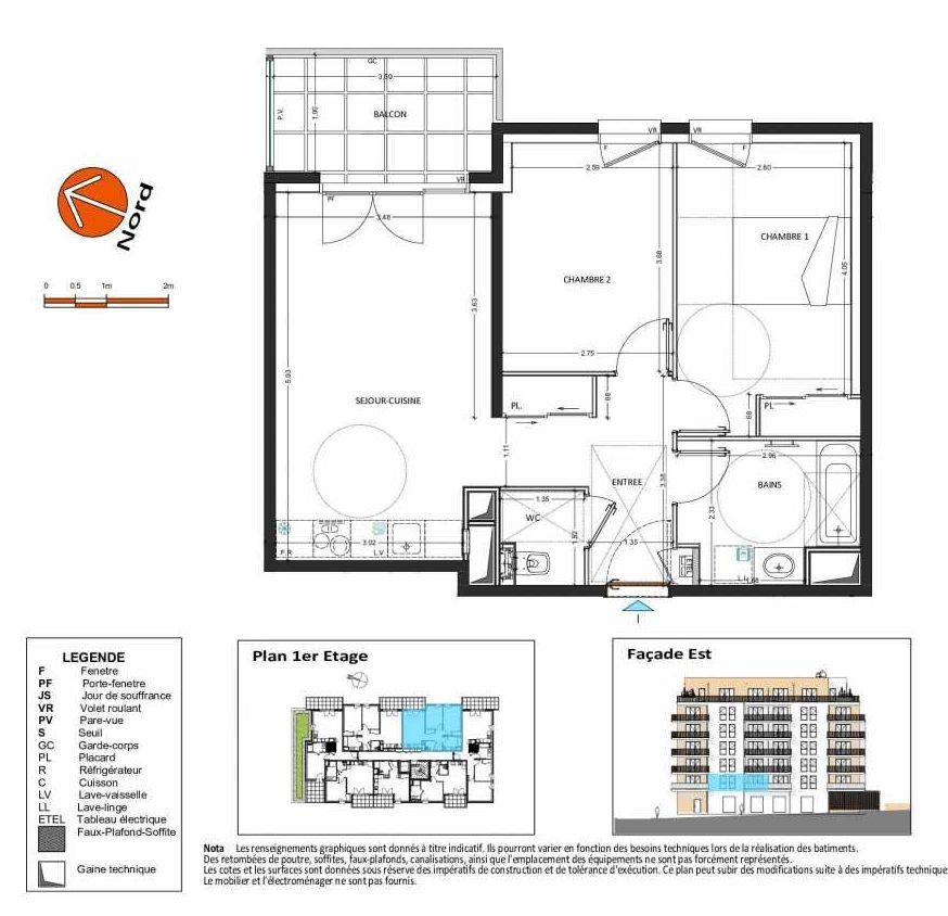 Plan B.115, appartement neuf type T3 au 1er étage, orienté Est faisant 58m² du programme neuf Grand Angle à Annecy.