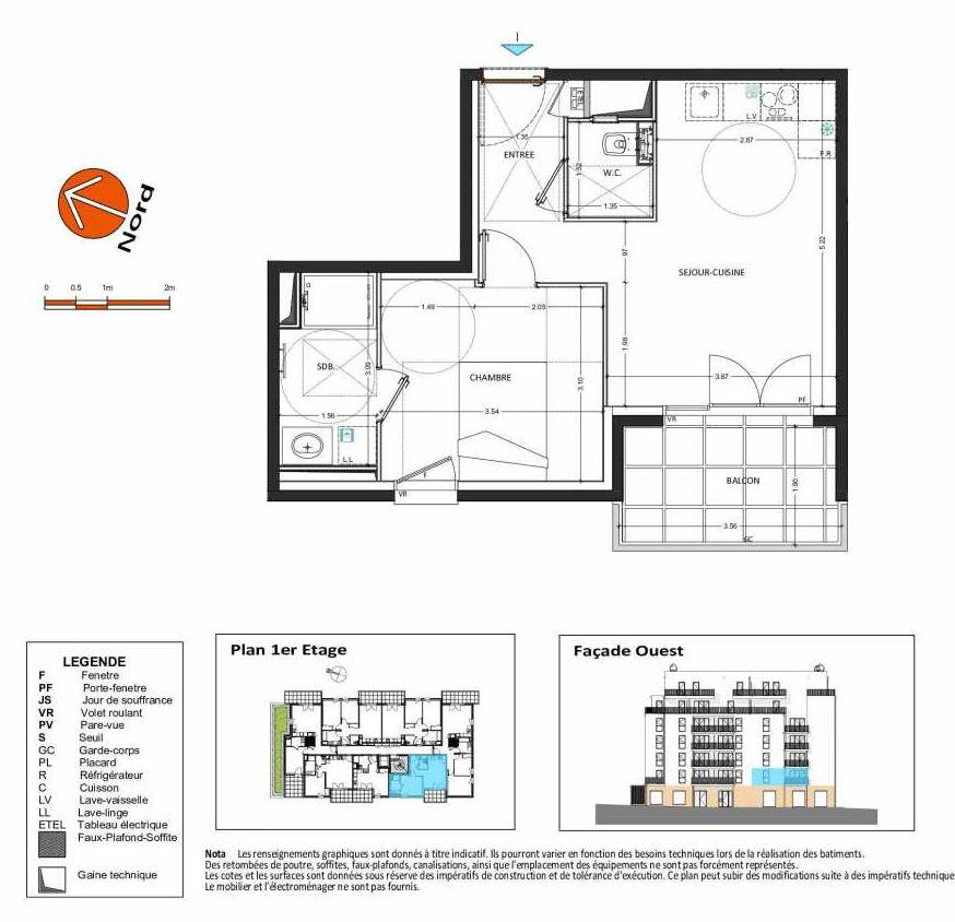 Plan B.117, appartement neuf, orienté Ouest faisant 40m² du programme neuf Grand Angle à Annecy.