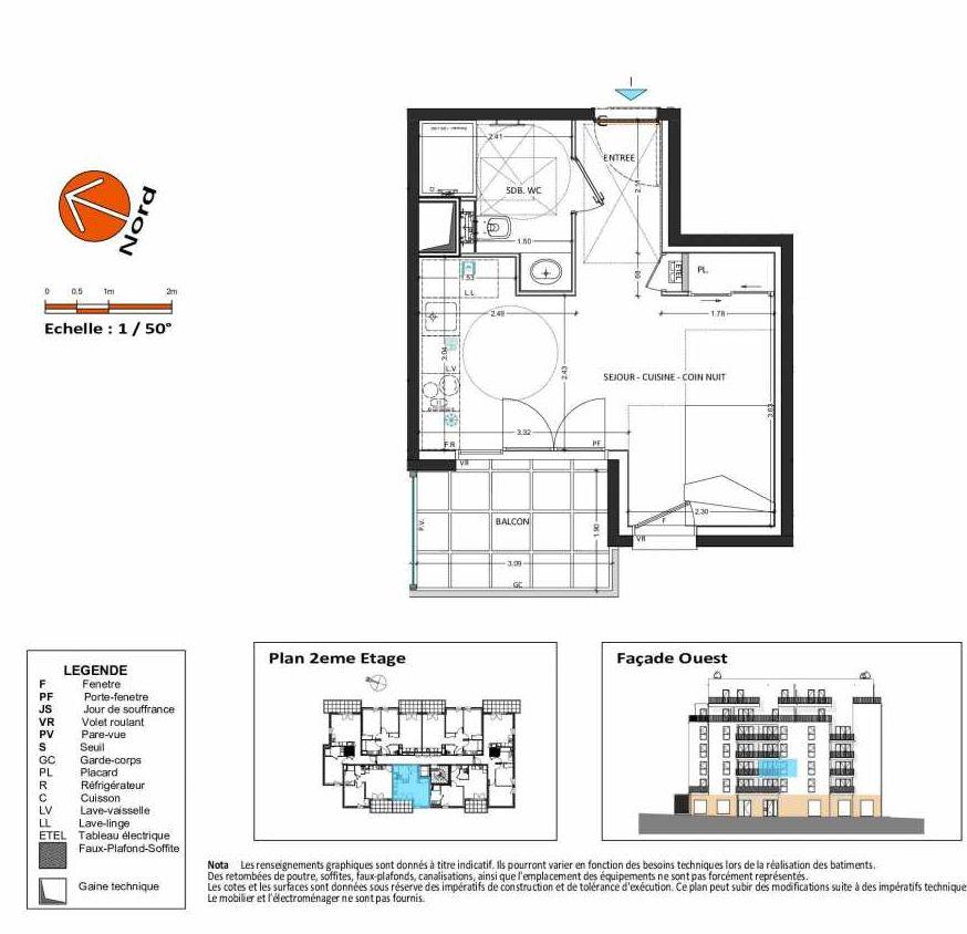 Plan B.121, appartement neuf, orienté Ouest faisant 27m² du programme neuf Grand Angle à Annecy.