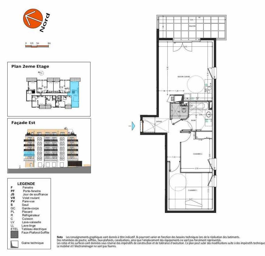 Plan B.126, appartement neuf type T3 au 2ème étage, orienté Sud faisant 62m² du programme neuf Grand Angle à Annecy.