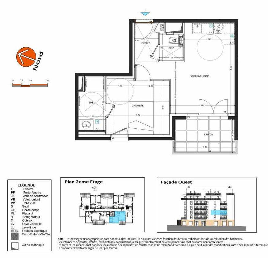 Plan B.127, appartement neuf type T2 au 2ème étage, orienté Ouest faisant 40m² du programme neuf Grand Angle à Annecy.