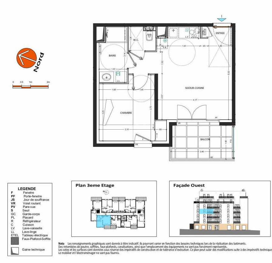 Plan B.132, appartement neuf type T2 au 3ème étage, orienté Ouest faisant 41m² du programme neuf Grand Angle à Annecy.