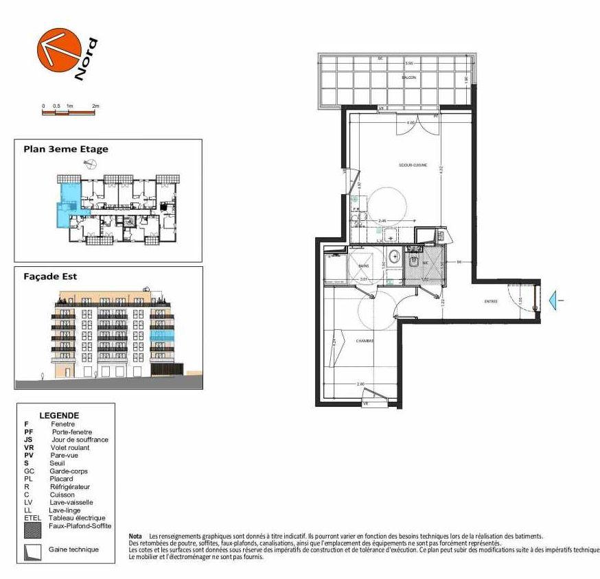 Plan B.133, appartement neuf type T2 au 3ème étage, orienté Ouest faisant 49m² du programme neuf Grand Angle à Annecy.